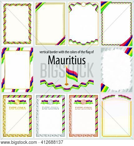Set Of Vertical Frames And Borders In The Colors Of The Flag Of Mauritius, Template Elements For You