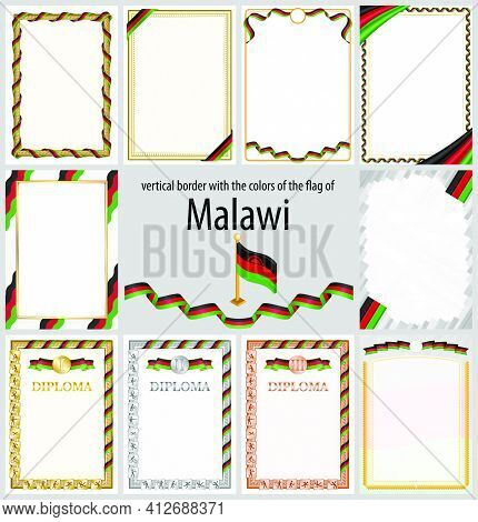 Set Of Vertical Frames And Borders In The Colors Of The Flag Of Malawi, Template Elements For Your C