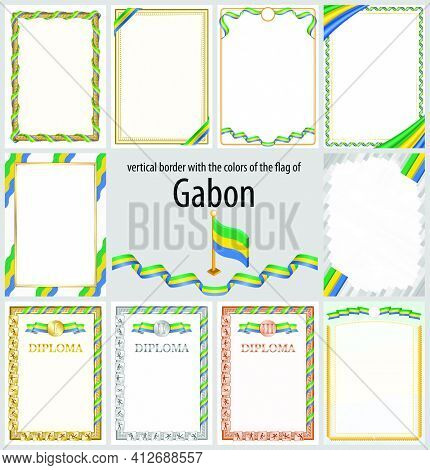 Set Of Vertical Frames And Borders In The Colors Of The Flag Of Gabon, Template Elements For Your Ce