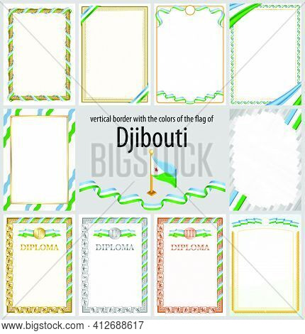 Set Of Vertical Frames And Borders In The Colors Of The Flag Of Djibouti, Template Elements For Your