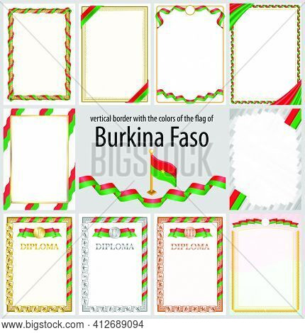 Set Of Vertical Frames And Borders In The Colors Of The Flag Of Burkina Faso, Template Elements For