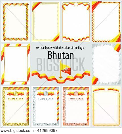 Set Of Vertical Frames And Borders In The Colors Of The Flag Of Bhutan, Template Elements For Your C