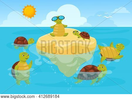 Turtles Swimming In Sea Water And Sunbathing. Happy Cute Animals In Nature. Flat Vector Illustration