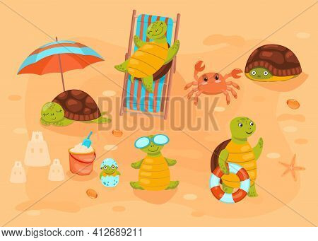 Turtles Lying On Chaise Longue And Sunbathing On Beach. Cute Animals In Nature. Flat Vector Illustra