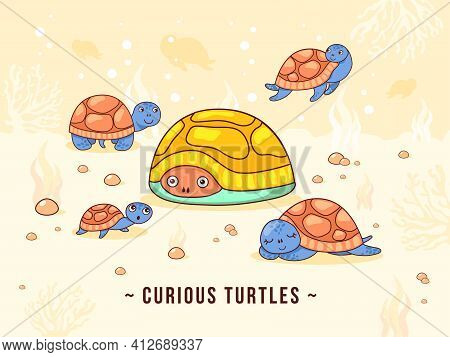 Light Background Design With Cute Little Turtles. Curious Turtle Characters Swimming And Living In O