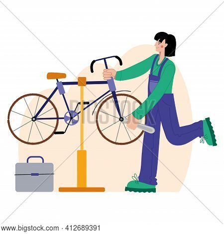 Bicycle Repair. A Woman Repairs A Bicycle. Web Graphics, Banners, Advertisements, Business Templates