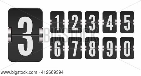 Set Of Flip Score Board Numbers For Countdown Timer Or Calendar. Vector Template For Your Design.