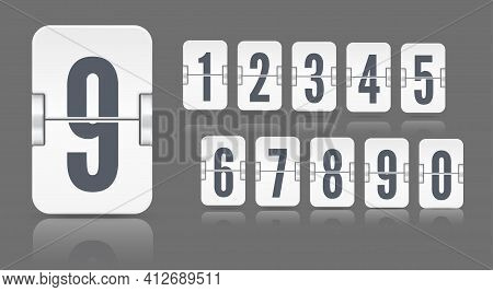 White Flip Mechanical Score Board Number With Reflections Floating On Different Height. Vector Templ