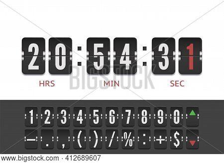 Retro Design Score Board Clock Template. Scoreboard Number Font. Vector Modern Ui Design Of Old Time