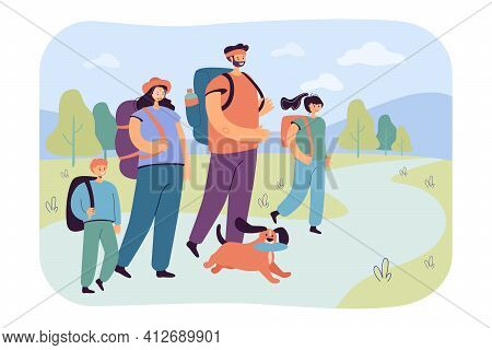 Happy Parents With Children Walking On Nature Flat Vector Illustration. Cartoon Active Tourists Or H