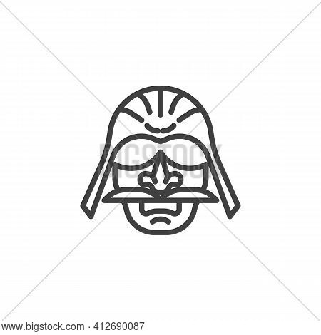 Japanese Warrior Line Icon. Linear Style Sign For Mobile Concept And Web Design. Samurai Warrior Mas
