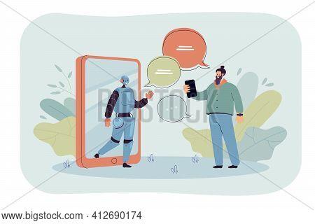 Tiny Man Chatting Online With Ai Assistant Flat Vector Illustration. Cartoon Customer Getting Virtua