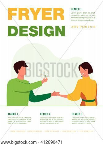 Happy Man Making Marriage Proposal To Woman. Ring, Gift, Bride Flat Vector Illustration. Relationshi