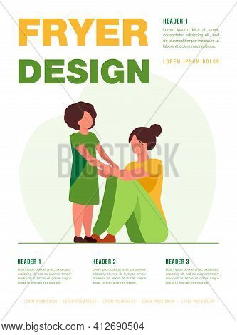 Woman Examining Scrapes On Kid. Black Adopted Child, Hurt, Trauma. Flat Vector Illustration. Family,