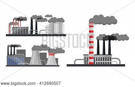 Industrial Plants And Factory Buildings With Pipelines Emitting Smoke Vector Set