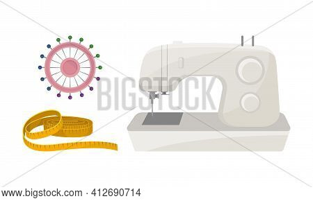 Sewing And Tailoring Accessories With Machine And Measuring Tape Vector Set