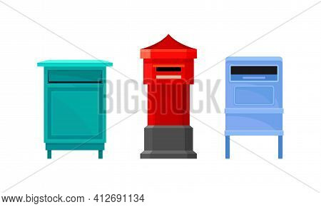Letter Box Or Letter Plate With Hole Or Mail Slot For Receiving Incoming Mail Vector Set