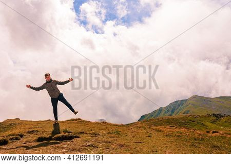 Summer Carpathians, Tourists On Top Of The Mountain Of The Montenegrin Ridge, Children Conquer The M