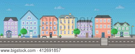 Empty City With Long Road Along Houses Vector Illustration. City Downtown Landscape In Pixel Style