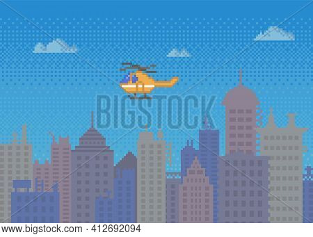Red Pixel Helicopter In Blue Sky Over Buildings. High Speed Vehicle In Pixel-game On City Background