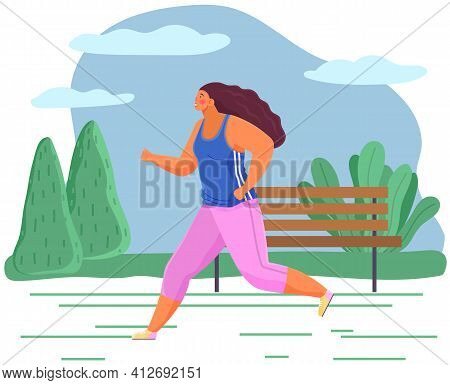Young Woman In Sports Wear Running Or Jogging. Workout Excercise. Runner Fat Girl Doing Sprint