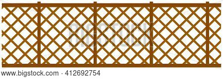High Wooden Or Metal Wicker Fence With Ornament. Site Fencing Isolated On White Background