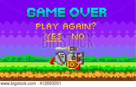 Game Over Pixel-game Background With Perished Knight. Pixelated Template For Computer Game Or App