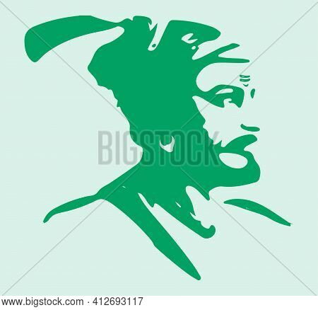 Sketch Of Chatrapati Shivaji Maharaj Indian Ruler And A Member Of The Bhonsle Maratha Clan Outline,