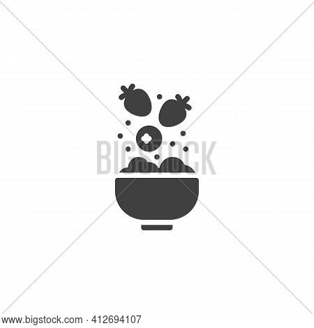 Fruit Cereal Breakfast Vector Icon. Filled Flat Sign For Mobile Concept And Web Design. Porridge Bow