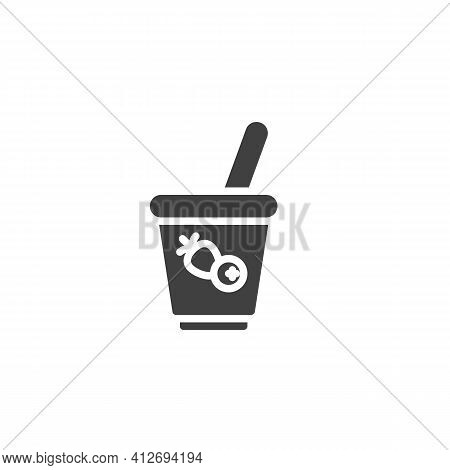Fruit Yogurt Cup Vector Icon. Filled Flat Sign For Mobile Concept And Web Design. Yogurt Breakfast G