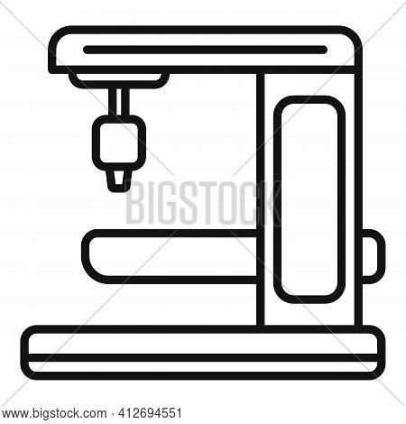 Milling Machine Gear Icon. Outline Milling Machine Gear Vector Icon For Web Design Isolated On White