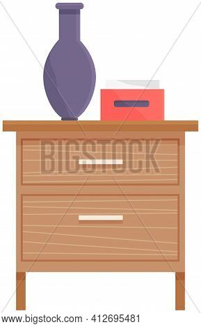 Wooden Commode With Drawers, Vase And Box Of Napkins Isolated On White. Bedroom Interior Element
