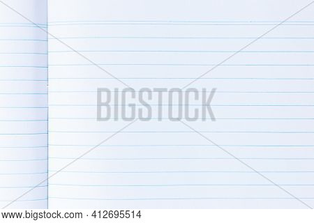 Blank Piece Of Lined Notebook Paper Over White. Drawing Of Open Notebook Paper In A White Background