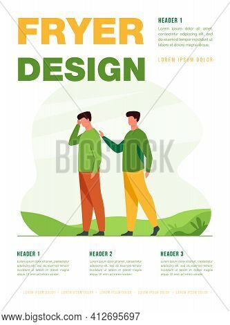 Man Giving Comfort To Upset Friend. Patting Shoulder, Support, Friendship. Flat Vector Illustration.