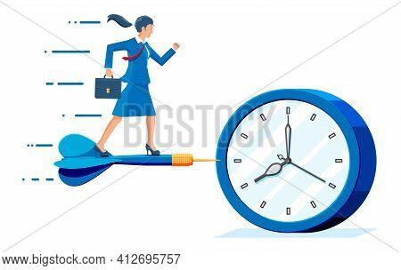 Businesswoman Aim Dart Arrow To Clocks Target.