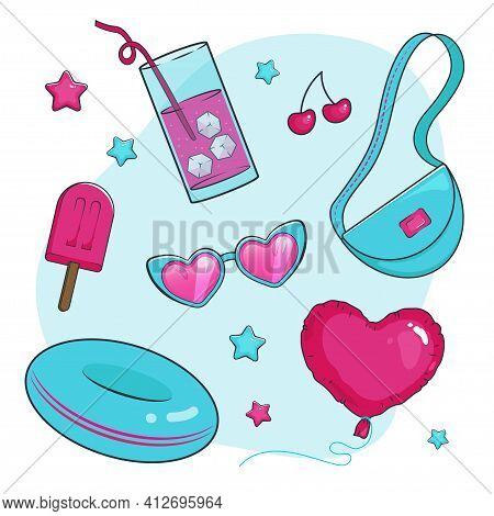 Set Of Summer Items In Vibrant Colors, Tiffany And Pink Heart-shaped Balloon, Swimming Rubber Ring,