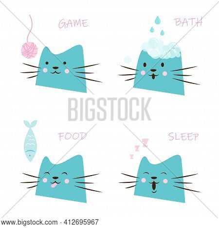 Happy Pet Needs. Cat Playing With A Ball Of Yarn, Cat With Soap Bubbles, Cat Eating A Fish, Sleeping