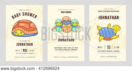 Colored Celebration Party Invitation Designs With Little Turtles. Creative Holiday Invitations With