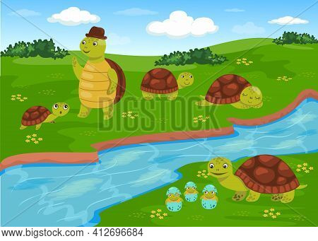 Turtles Families With Kids Walking On Meadow With Green Grass. Cute Animals In Summer Nature. Flat V