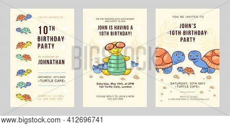 Trendy Party Invitation Designs With Funny Turtles. Stylish Birthday Invitations With Little Turtles