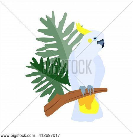 Cockatoo Parrot Sits On A Branch With Tropical Leaves. Vector Cartoon Flat Illustration