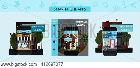 A Set Of Pages For Mobile App Stores. Vector Cartoon Illustration. Ads For An Online Candy Store, To