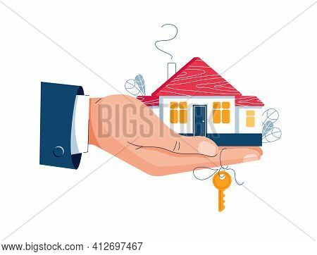 Buy A House Concept. Man Holding A House And Key In Hand. Deal Sale, Property Purchase, Real Estate