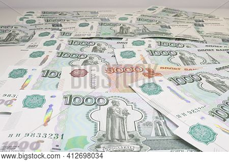 Currency Russian Rubles - Paper Banknotes Of Russian Rubles. Money Background.