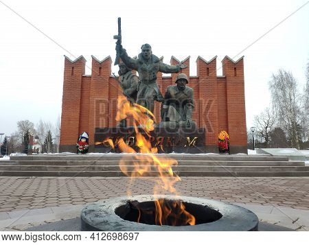 Moscow, Russia - 04 March 2021: Eternal Flame At The Monument To The Fallen Soldiers, Heroes Of The