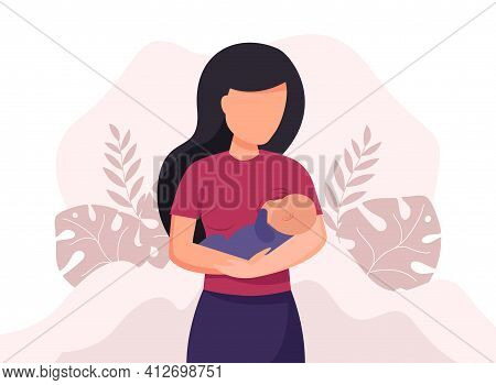 Breastfeeding Illustration, Mother Feeding A Baby With Breast With Nature And Leaves Background. Vec