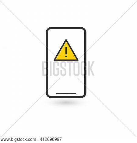 Mobile Phone Icon With Exclamation Mark. Mobile Phone Icon And Alert, Error, Alarm, Danger Symbol. A