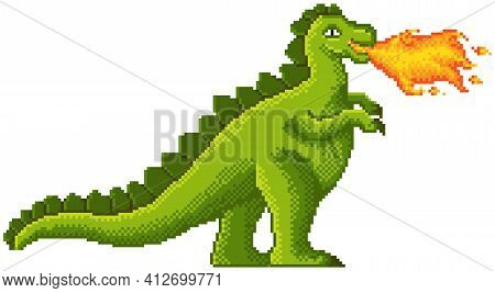 Green Pixel Dragon Breathes Fire. Cartoon Character, Pixel-game Dangerous Animal Giant Dinosaur