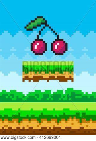 Vector Pixel Cherries. Pixel Art Style 8-bit. Illustration Of Pixel-game Berry In Natural Landscape