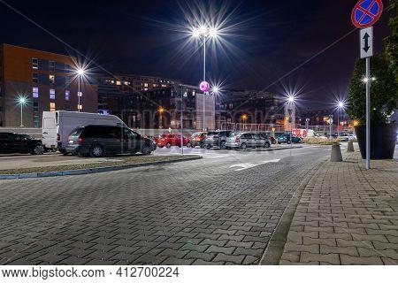 Parking Lot. Car Lot Parking Space In Underground City Garage. Empty Road Asphalt Background. Ground